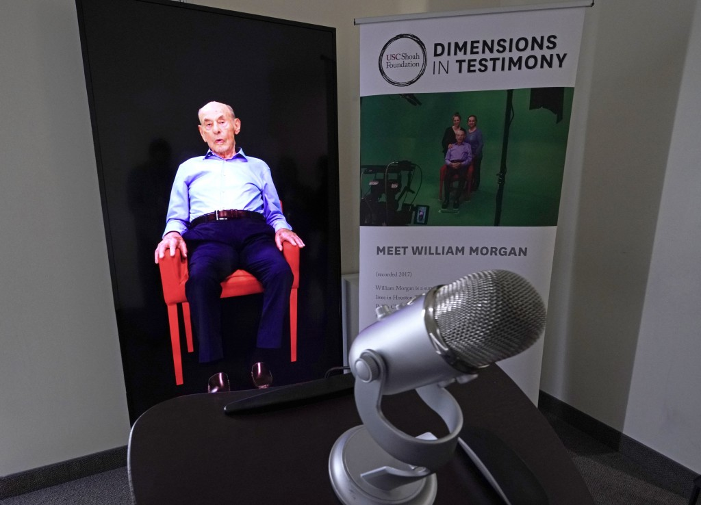 A Dimensions in Testimony exhibit featuring Holocaust survivor William Morgan using an interactive virtual conversation is shown at the the Holocaust