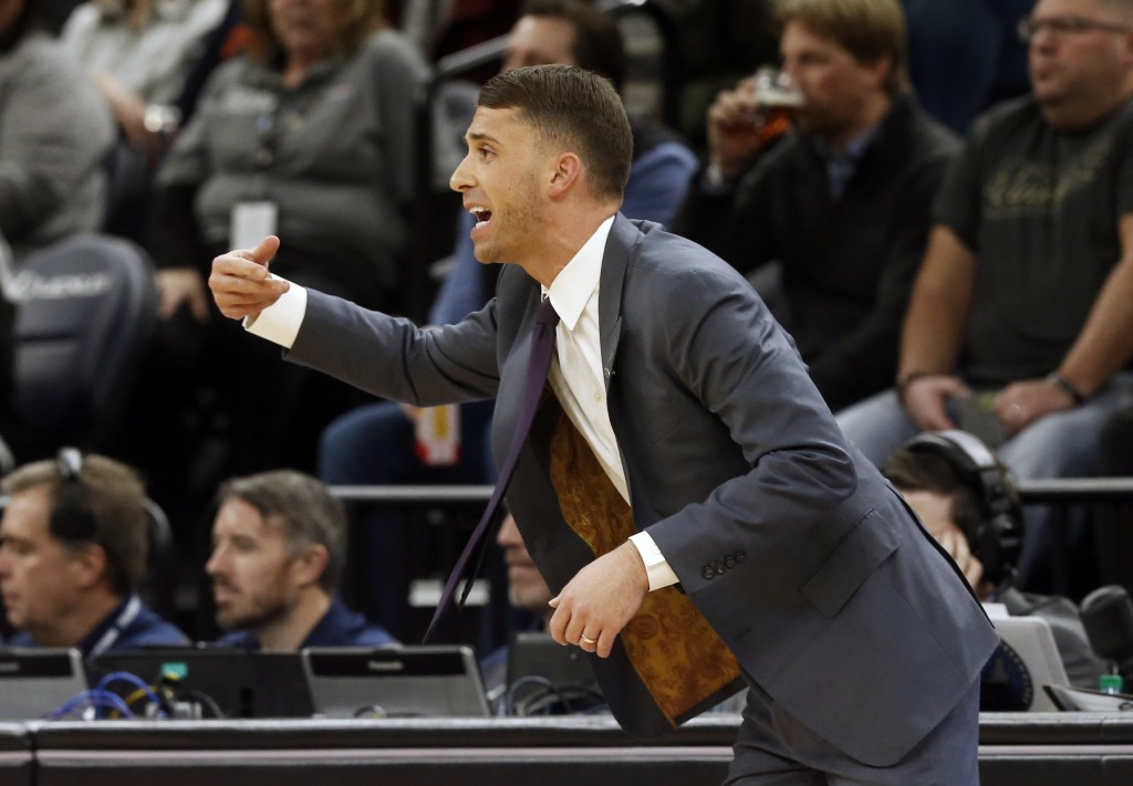 Minnesota Timberwolves interim head coach Ryan Saunders, making his home court debut, directs his players against the Dallas Mavericks in the first ha