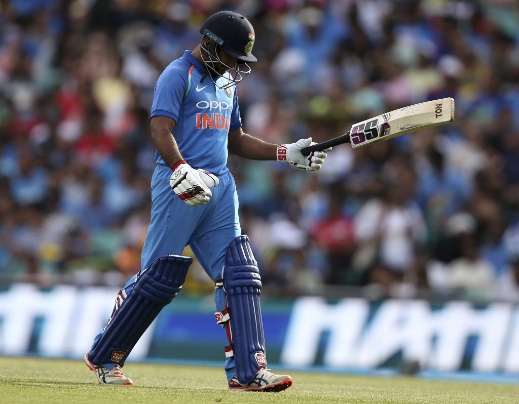 India's Ambati Rayudu walks off after losing his wicket to Australia during their one day international cricket match in Sydney, Saturday, Jan. 12, 20