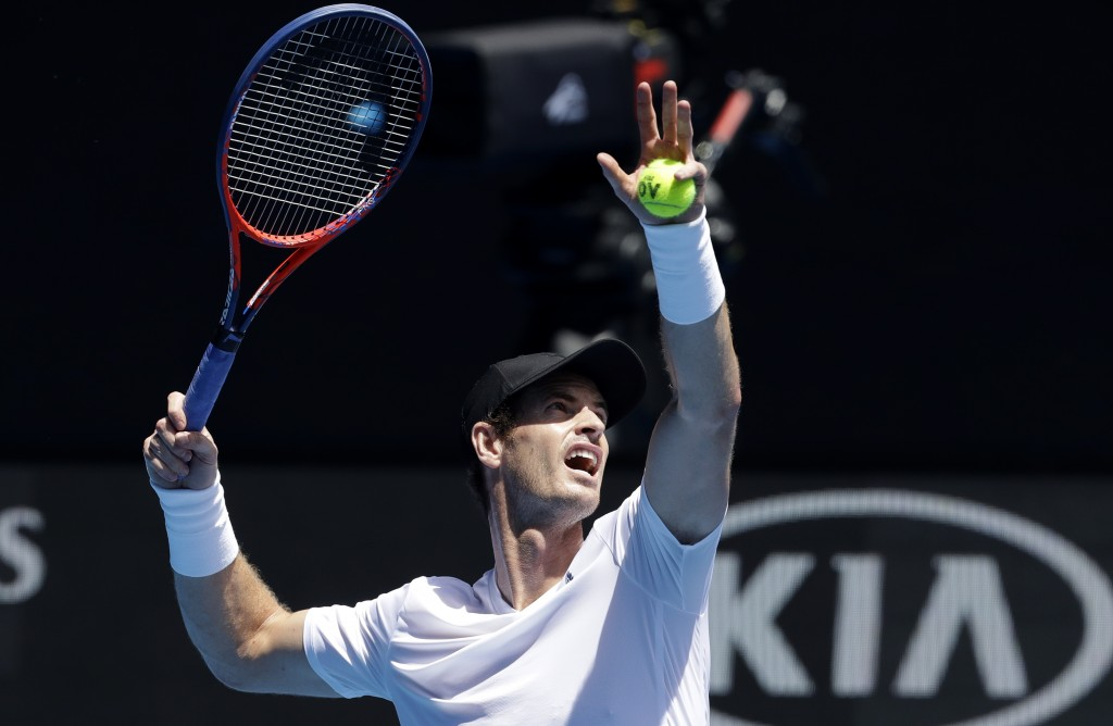 Britain's Andy Murray prepares to hit the ball during practice session ahead of the Australian Open tennis championships in Melbourne, Australia, Satu