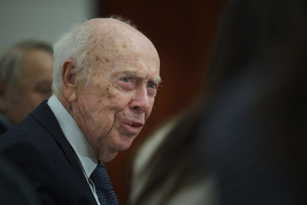 FILE - In this Wednesday, June 17, 2015 file photo, U.S. Nobel laureate biologist James Watson visits the Russian Academy of Sciences in Moscow, Russi