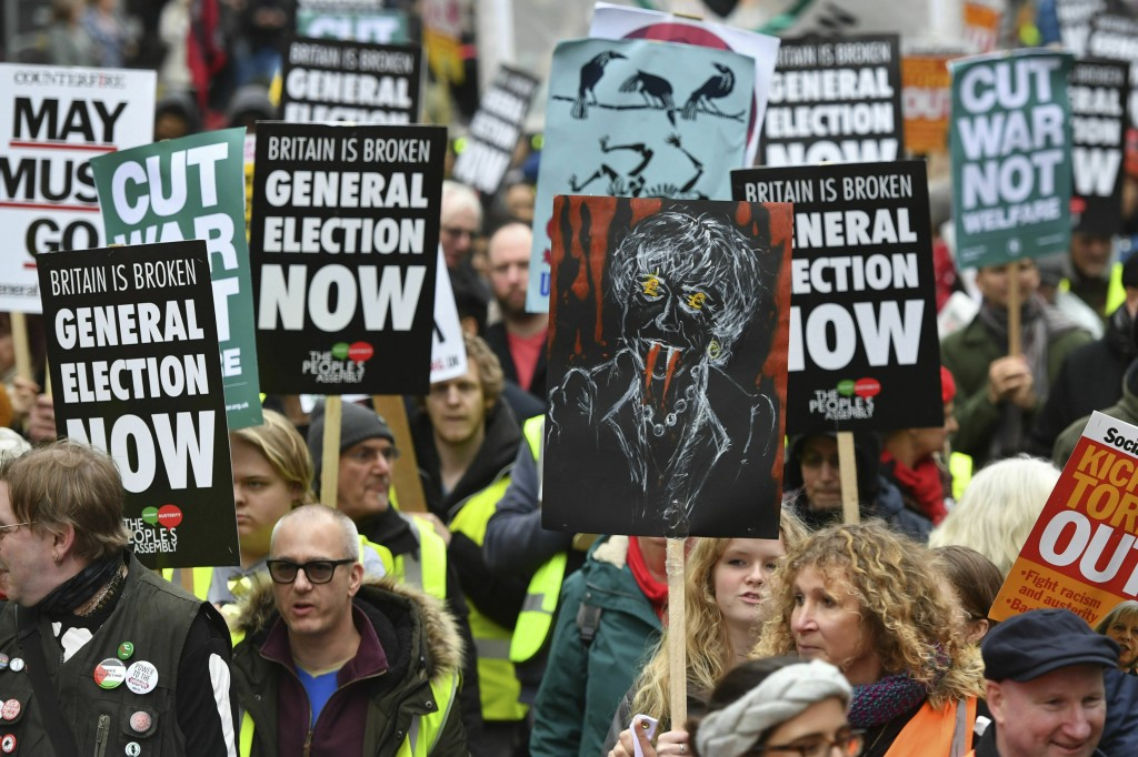 People's Assembly Against Austerity stage a  rally in central London calling for a general election. Saturday Jan. 12, 2019. Hundreds of protesters in