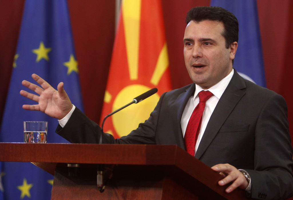 Macedonian Prime Minister Zoran Zaev gestures during a news conference in the government building in Skopje, Macedonia, Saturday, Jan. 12, 2019. Maced