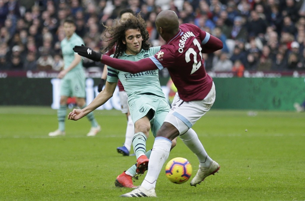 Arsenal's Matteo Guendouzi attempts a shot past West Ham's Angelo Ogbonna, right, during the English Premier League soccer match between West Ham Unit
