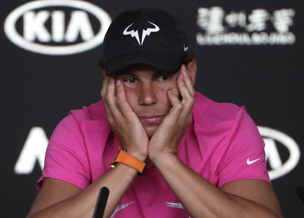 Spain's Rafael Nadal reacts during a press conference ahead of the Australian Open tennis championships in Melbourne, Australia, Saturday, Jan. 12, 20