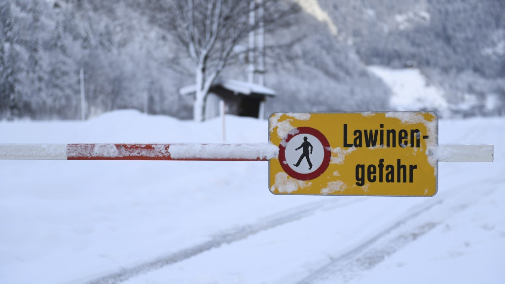 "A danger sign "" danger of avalanches"" displayed at a closed street in Weissbach near Lofer, Austrian province of Salzburg on Friday, Jan. 11, 2019.(AP"