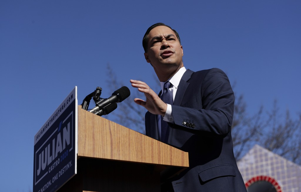 FILE - In this Saturday, Jan. 12, 2019, file photo, former San Antonio Mayor and Housing and Urban Development Secretary Julian Castro speaks during a