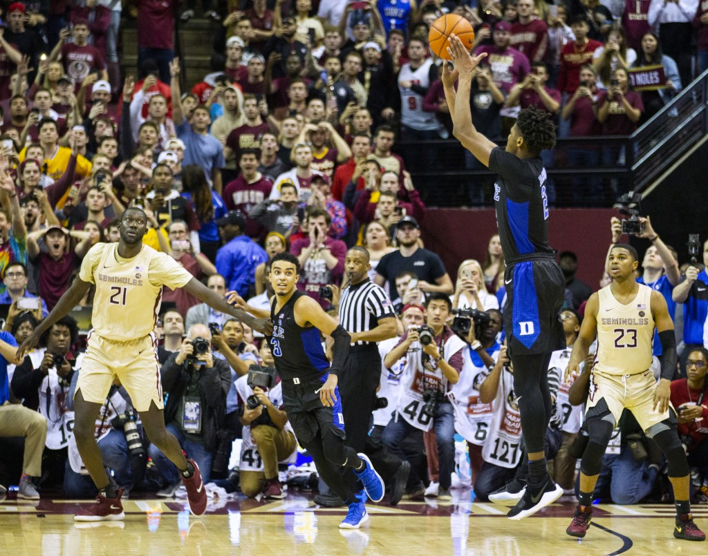 Duke forward Cam Reddish takes the game-winning shot against Florida State with less than a second left in an NCAA college basketball game in Tallahas