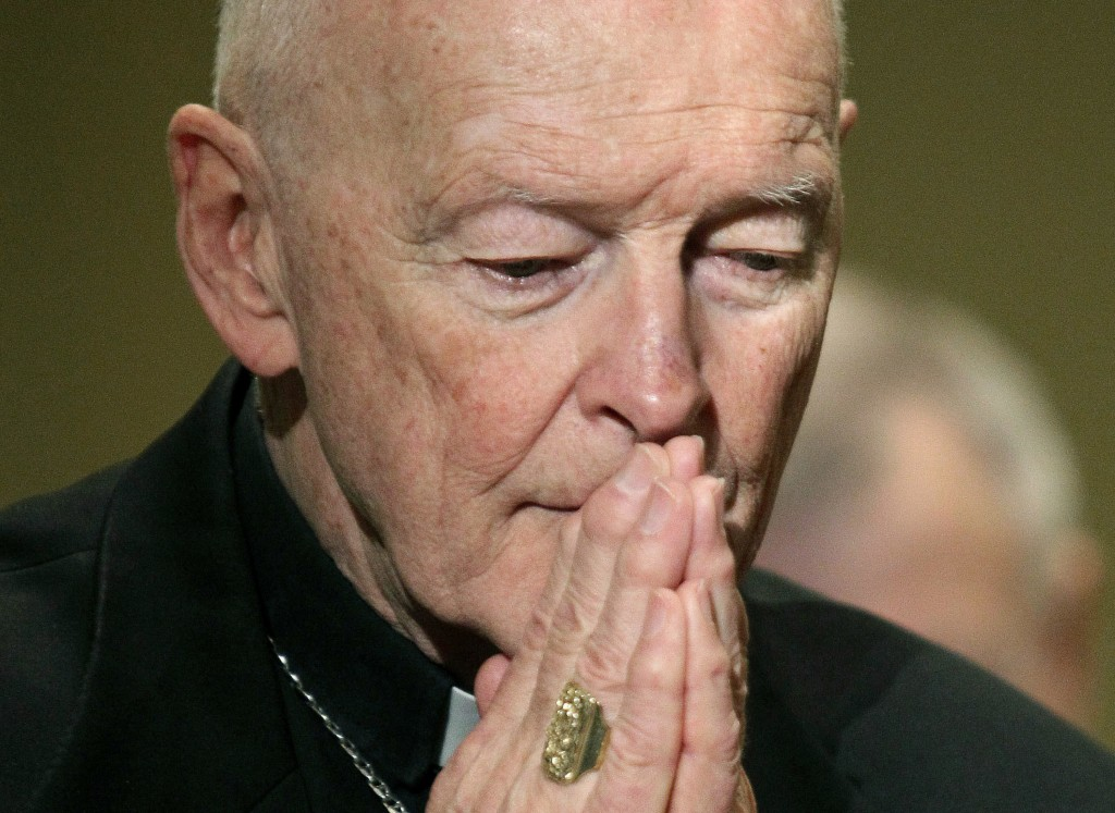 FILE - In this Nov. 14, 2011, file photo, then Cardinal Theodore McCarrick prays during the United States Conference of Catholic Bishops' annual fall