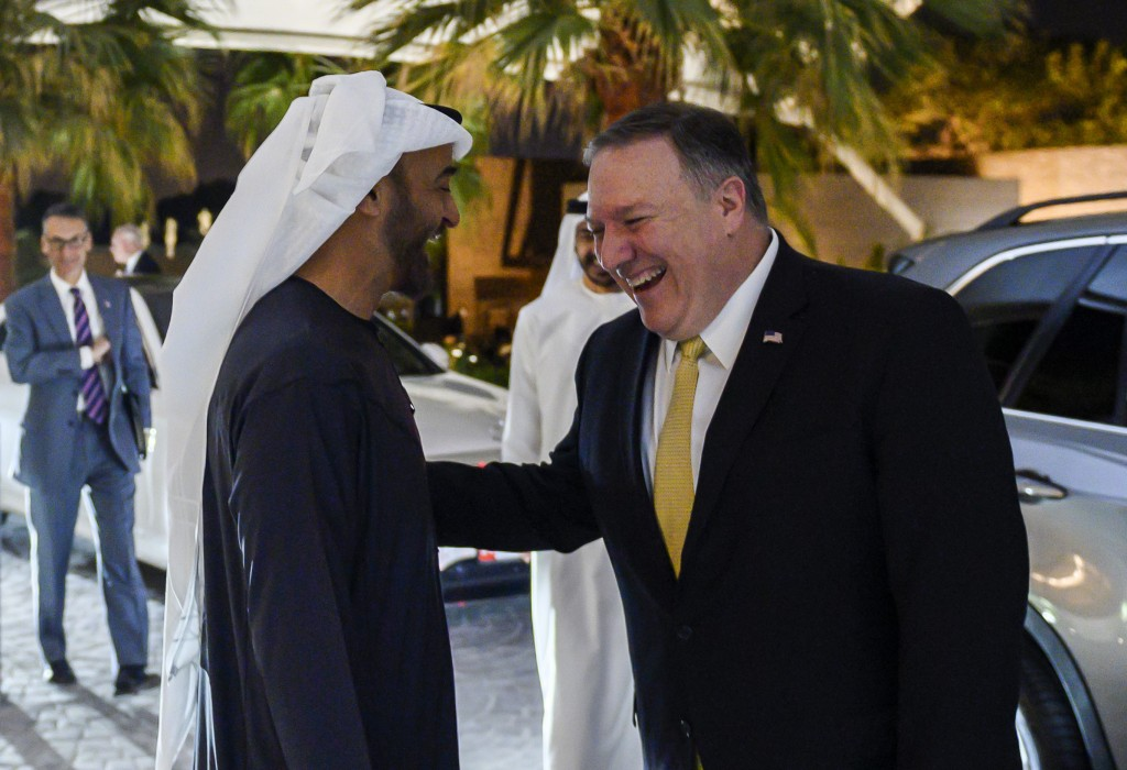Abu Dhabi's Crown Prince Sheikh Mohammed bin Zayed Al Nahyan greets  visiting US Secretary of State Mike Pompeo prior to their meeting at Al-Shati Pal