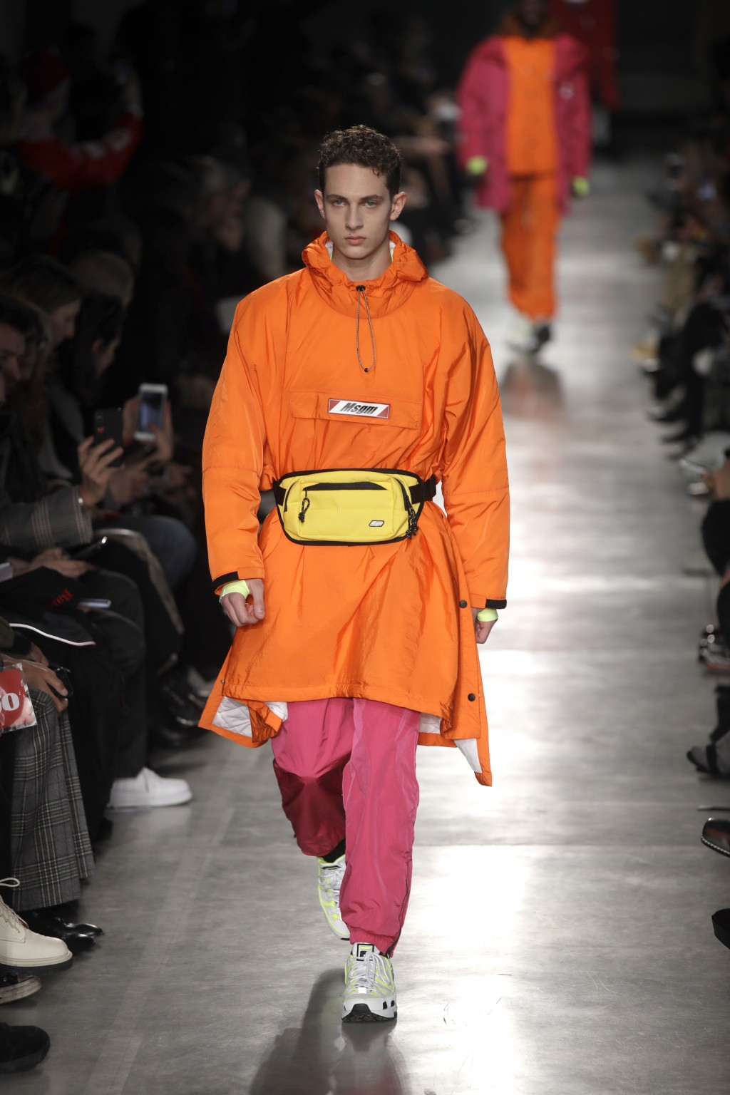 A model wears a creation as part of the MSGM men's Fall-Winter 2019-20 collection, that was presented in Milan, Italy, Sunday, Jan.13, 2019. (AP Photo