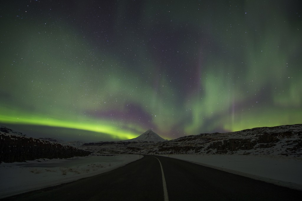 FILE - In this Wednesday, March 1, 2017 file photo, the Northern Lights, or aurora borealis, appear in the sky over Bifrost, Western Iceland. Police i