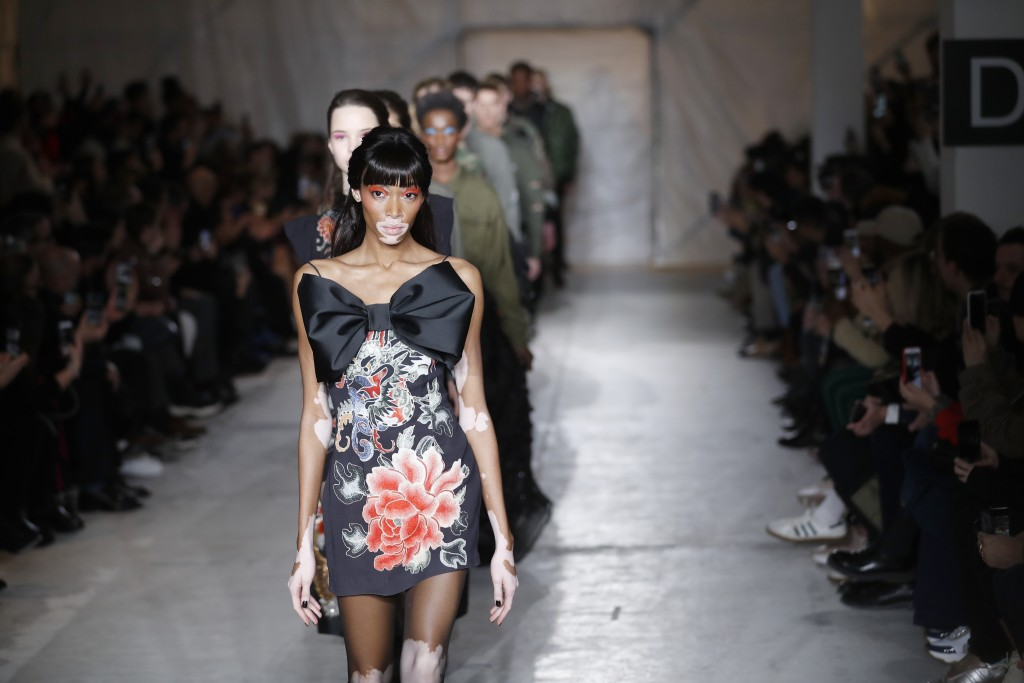 Model Winnie Harlow wears a creation as part of the John Richmond men's Fall-Winter 2019-20 collection, that was presented in Milan, Italy, Sunday, Ja
