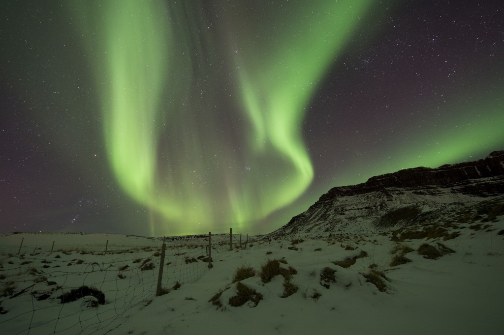 FILE - In this March 1, 2017 file photo, the Northern Lights, or aurora borealis, appear in the sky over Bifrost, Western Iceland. Police in Iceland s