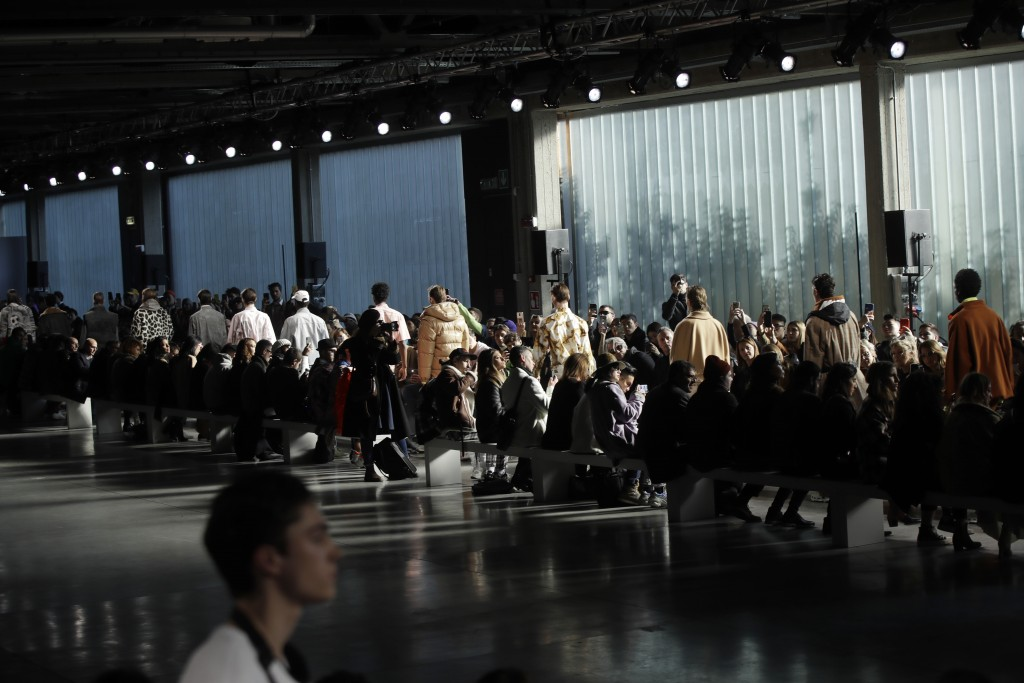 Models wear creations as part of the MSGM men's Fall-Winter 2019-20 collection, that was presented in Milan, Italy, Sunday, Jan.13, 2019. (AP Photo/Lu