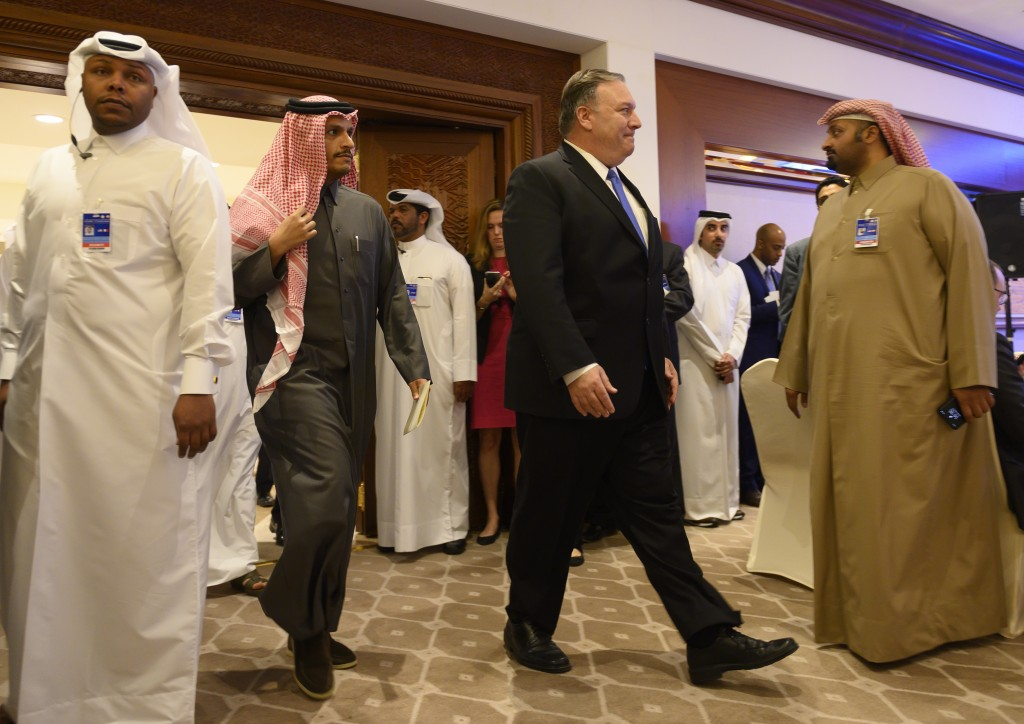 U.S. Secretary of State Mike Pompeo, arrives for a joint press conference with Qatari Foreign Minister Sheikh Mohammed bin Abdulrahman Al Thani, at th