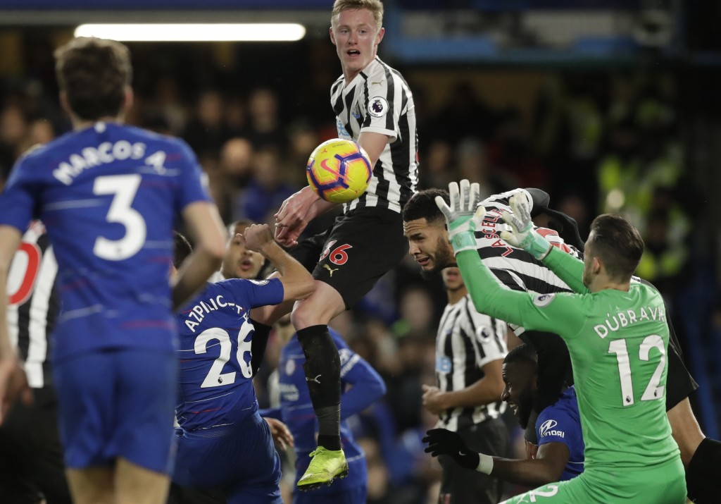 Newcastle United goalkeeper Martin Dubravka saves a ball during the English Premier League soccer match between Chelsea and Newcastle United at Stamfo