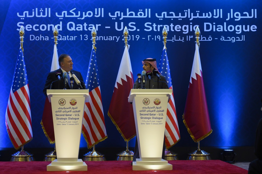 U.S. Secretary of State Mike Pompeo, left,  holds a joint press conference with Qatari Foreign Minister Sheikh Mohammed bin Abdulrahman Al Thani, at t