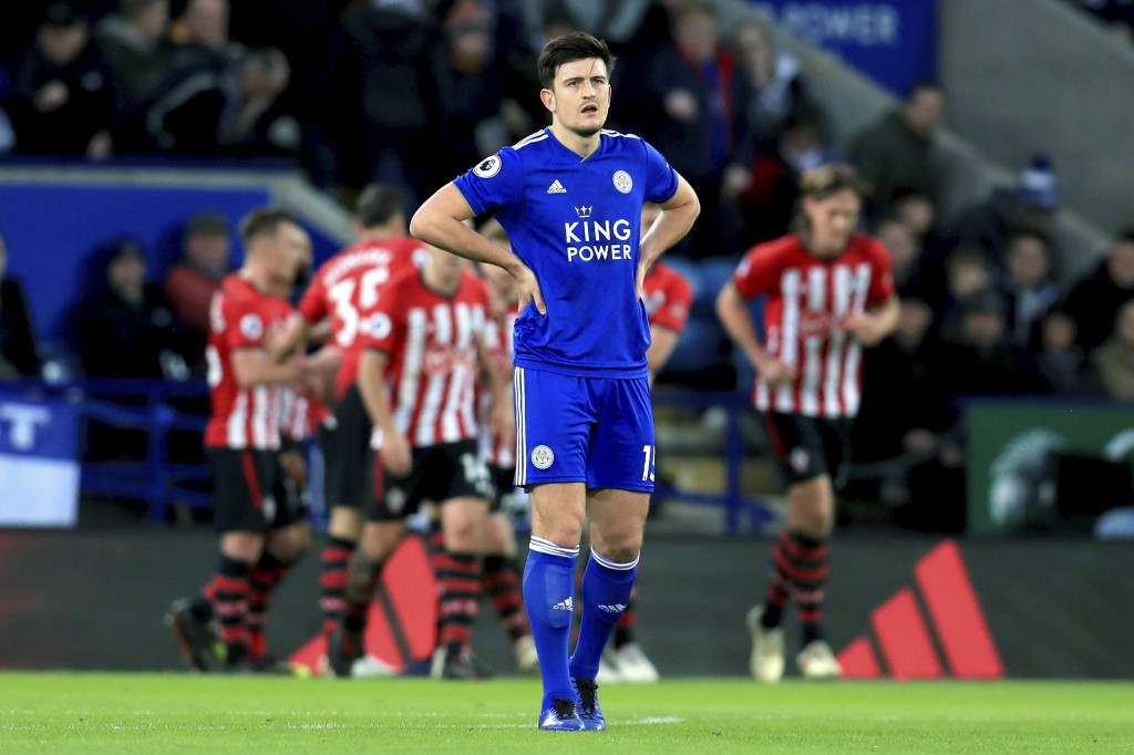 Leicester City's Harry Maguire appears dejected as Southampton score their second goal of the game during the English Premier League soccer match betw