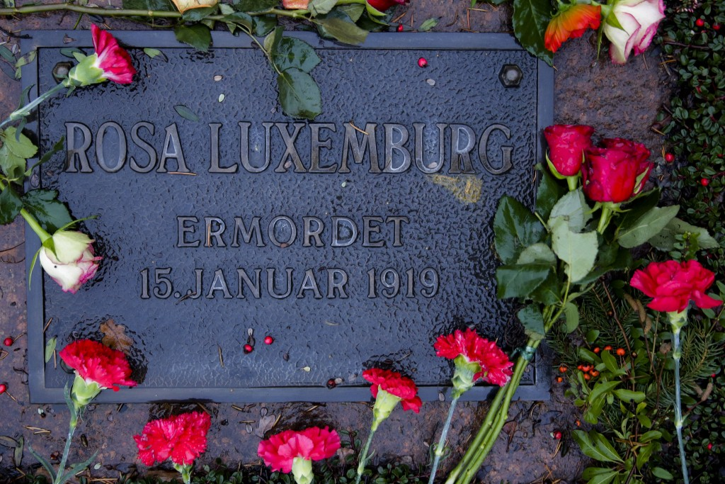 Carnations lay on the grave of former German socialists' leader Rosa Luxemburg at a cemetery Berlin, Sunday, Jan. 13, 2019. Prominent figures from the