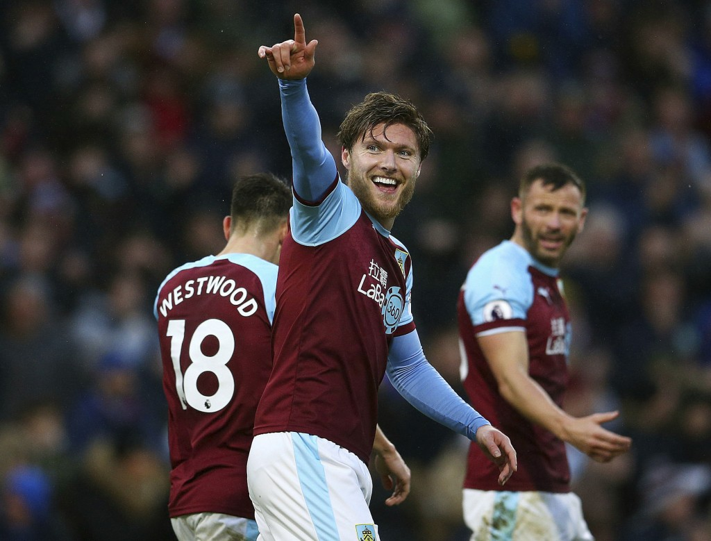 Burnley's Jeff Hendrick celebrates his side's first goal of the game with team-mates Ashley Barnes and Phil Bardsley during the English Premier League