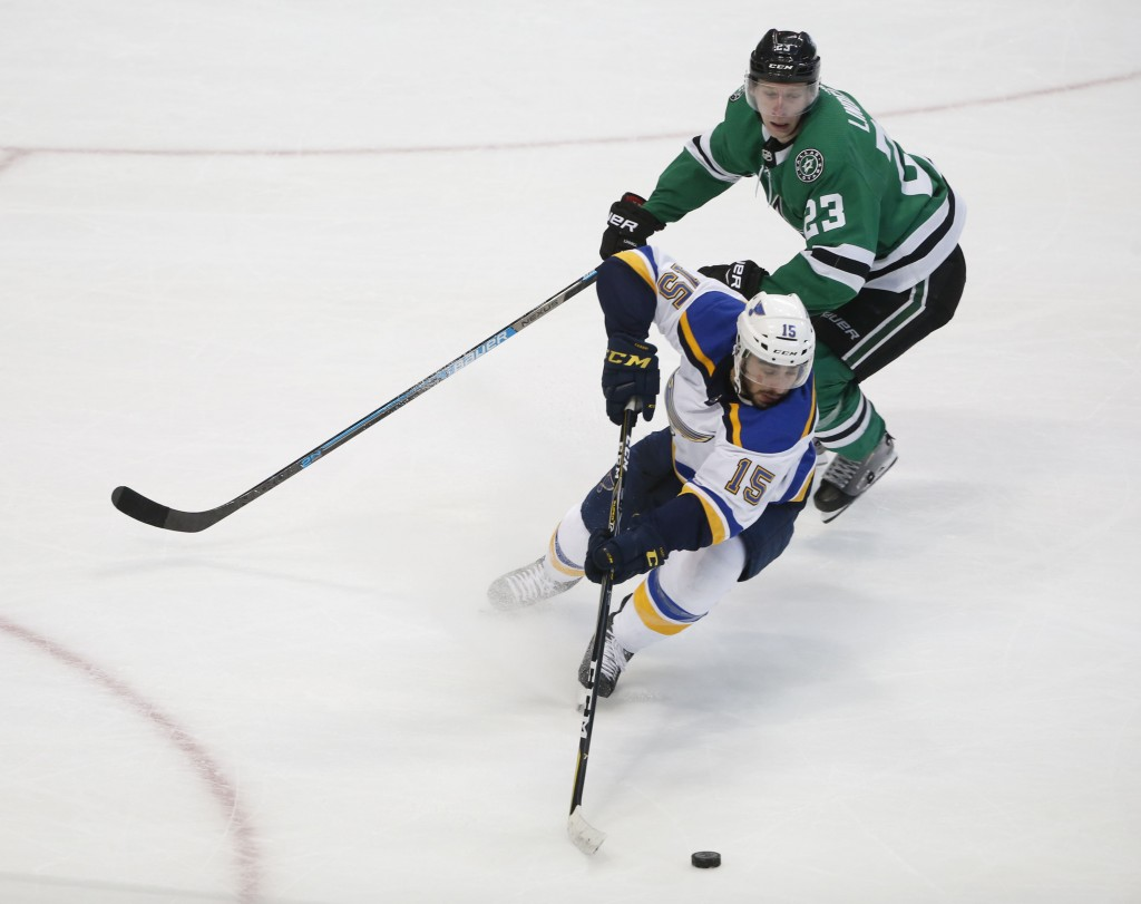 St. Louis Blues center Robby Fabbri (15) keeps the puck from Dallas Stars defenseman Esa Lindell (23) during the second period of an NHL hockey game i