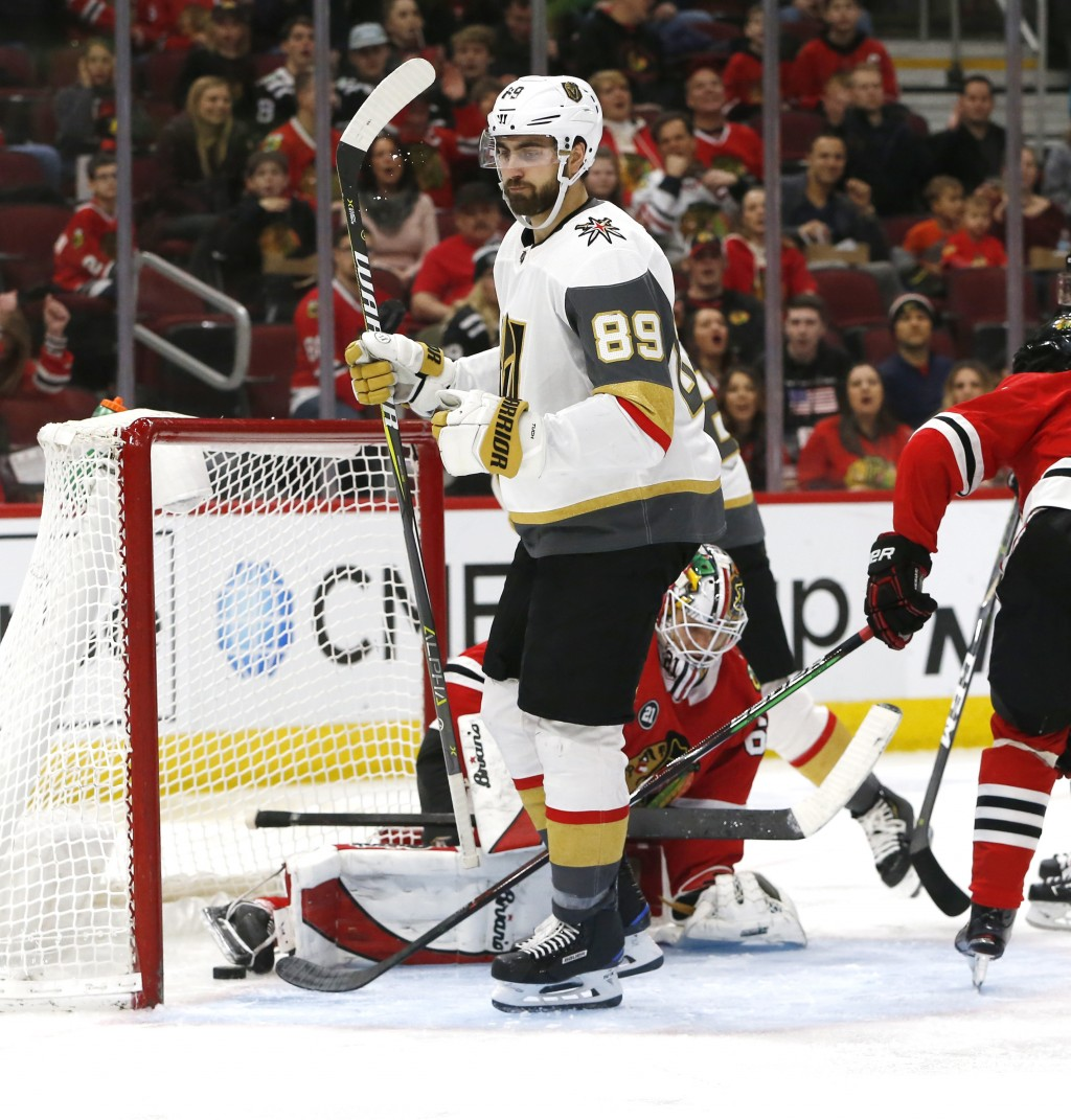 Vegas Golden Knights right wing Alex Tuch (89) reacts after his goal against the Chicago Blackhawks during the second period of an NHL hockey game Sat