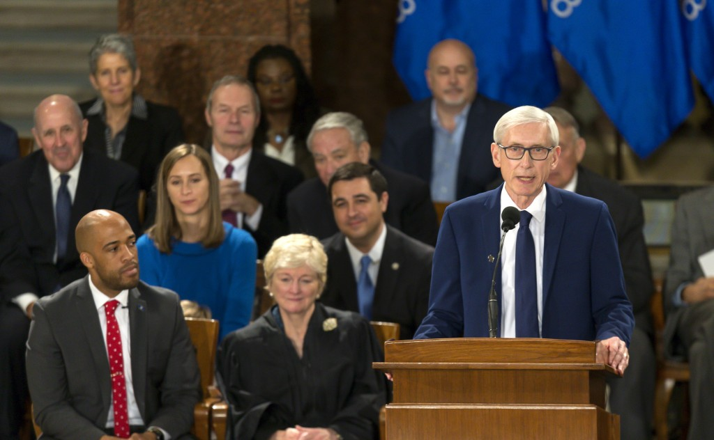FILE - In this Jan. 7, 2019 file photo, Wisconsin Gov. Tony Evers addresses the audience after Evers was sworn in during the inauguration ceremony at