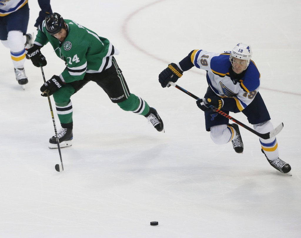 Dallas Stars left wing Jamie Benn (14) and St. Louis Blues defenseman Jay Bouwmeester (19) chase after a puck during the second period of an NHL hocke