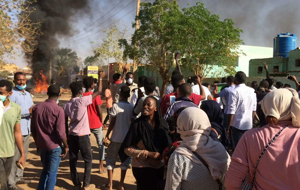 Anti-government protesters rally in Khartoum, Sudan, Sunday, Jan. 13, 2019. Hundreds of protesters are marching again in and around Sudan's capitol Kh...