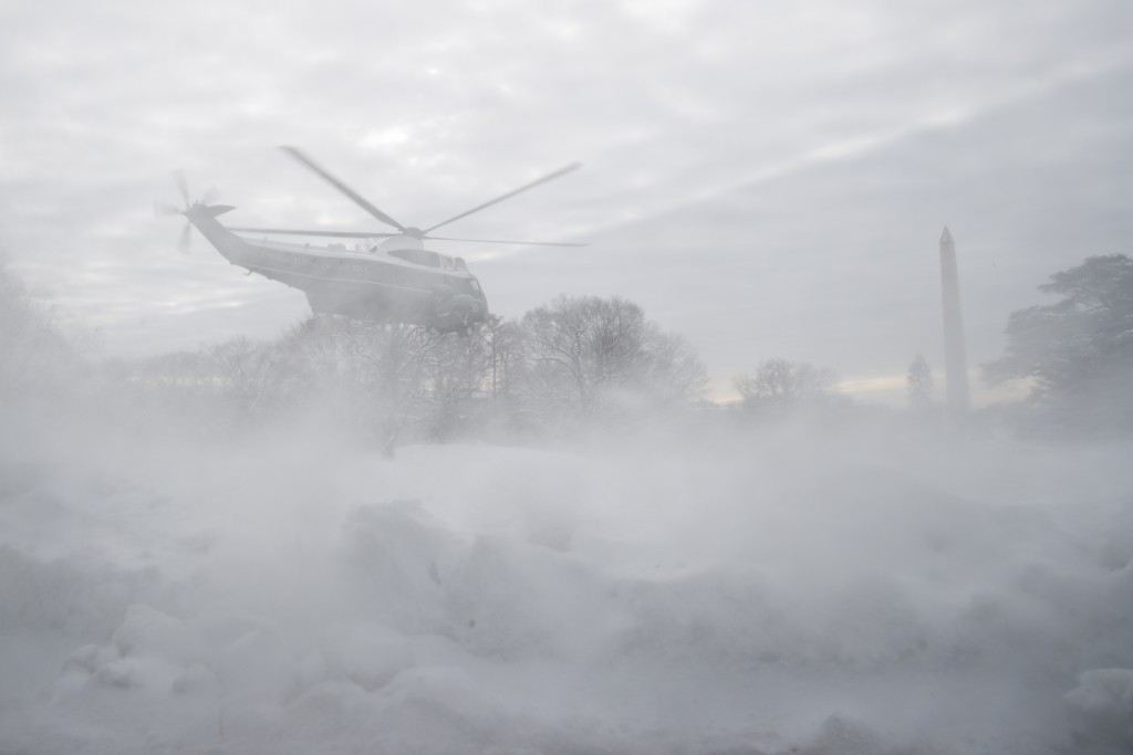 Marine One carrying President Donald Trump departs the South Lawn of the White House, Monday, Jan. 14, 2019, in Washington. (AP Photo/ Evan Vucci)