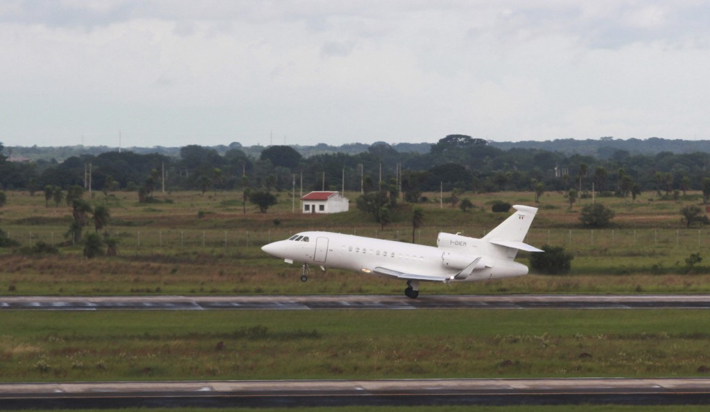 The plane carrying Italian fugitive Cesare Battisti takes off for Italy, where he will serve a life sentence, from the airport in Santa Cruz, Bolivia,