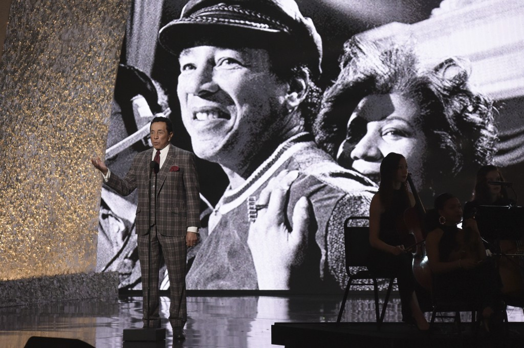 """Smokey Robinson speaks at the """"Aretha! A Grammy Celebration For The Queen Of Soul"""" event at the Shrine Auditorium on Sunday, January 13, 2019, in Los"""