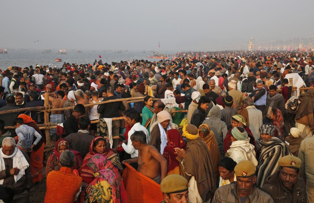 Thousands of Hindu devotees take spiritual-cleansing dips in the Sangam, the confluence of the rivers Ganges, Yamuna, and the mythical Saraswati durin