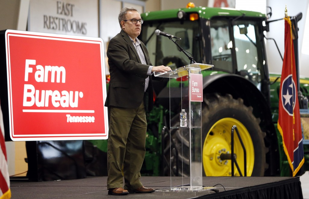 FILE - In this Tuesday, Dec. 18, 2018, file photo, acting EPA administrator Andrew Wheeler speaks in Lebanon, Tenn. Wheeler and Agriculture Secretary