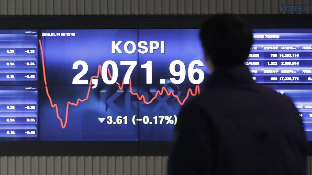 A man walks by the screen showing the Korea Composite Stock Price Index (KOSPI) at the Korea Exchange in Seoul, South Korea, Monday, Jan. 14, 2019. Sh