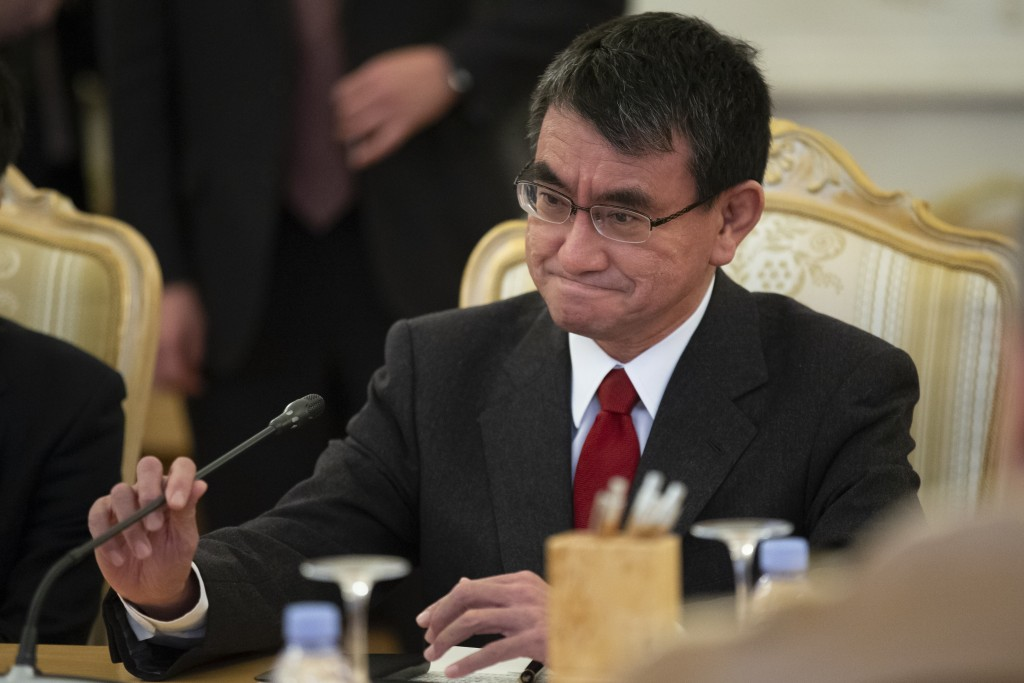 Japanese Foreign Minister Taro Kono speaks to Russian Foreign Minister Sergey Lavrov during their talks in Moscow, Russia, Monday, Jan. 14, 2019. (AP
