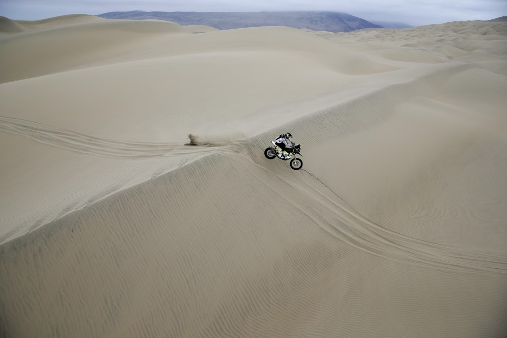 Pablo Quintanilla of Chile rides his Husqvarna motorbike during the stage six of the Dakar Rally between Arequipa and San Juan de Marcona, Peru, Sunda