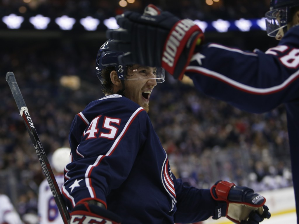 Columbus Blue Jackets' Lukas Sedlak, of the Czech Republic, celebrates his goal against the New York Rangers during the second period of an NHL hockey