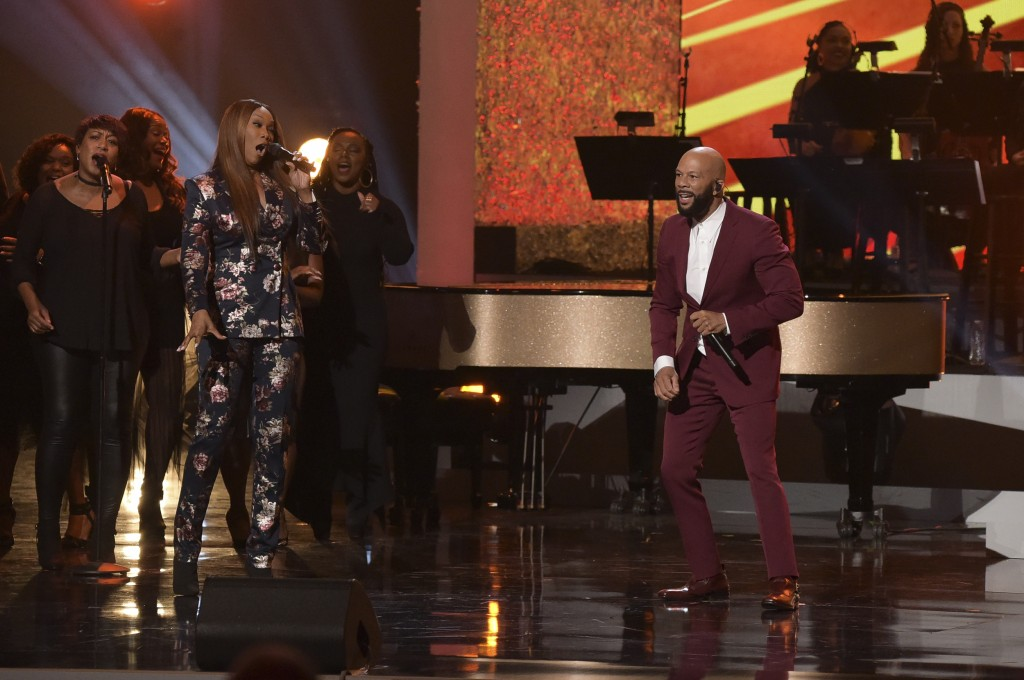 """Yolanda Adams, left, and Common perform at the """"Aretha! A Grammy Celebration For The Queen Of Soul"""" event at the Shrine Auditorium on Sunday, January"""