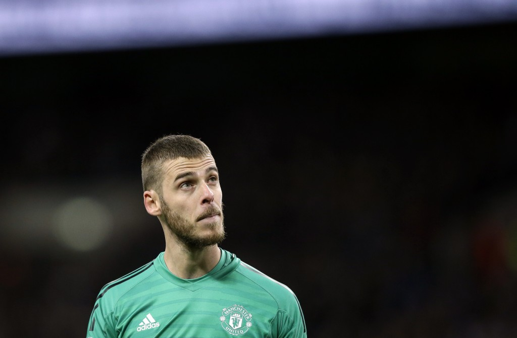 Manchester United goalkeeper David de Gea looks on during the English Premier League soccer match between Tottenham Hotspur and Manchester United at W