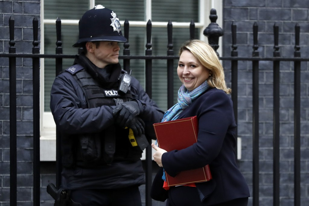 Britain's Secretary of State for Northern Ireland Karen Bradley arrives to attend a cabinet meeting at Downing Street in London, Tuesday, Jan. 15, 201