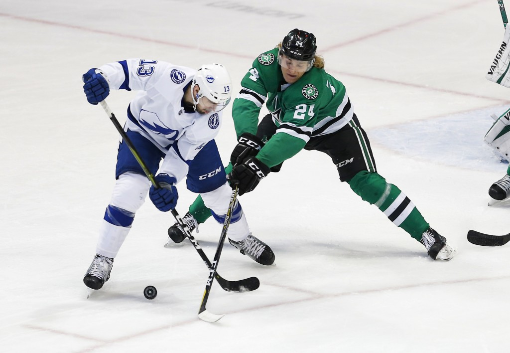 Tampa Bay Lightning forward Cedric Paquette (13) battles Dallas Stars forward Roope Hintz (24) for the puck during the first period of an NHL hockey g...