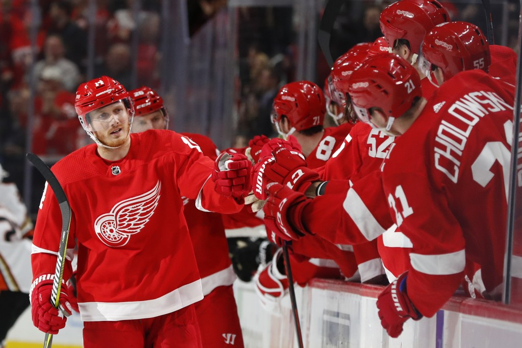 Detroit Red Wings' Gustav Nyquist (14) celebrates his goal against the Anaheim Ducks in the third period of an NHL hockey game, Tuesday, Jan. 15, 2019...