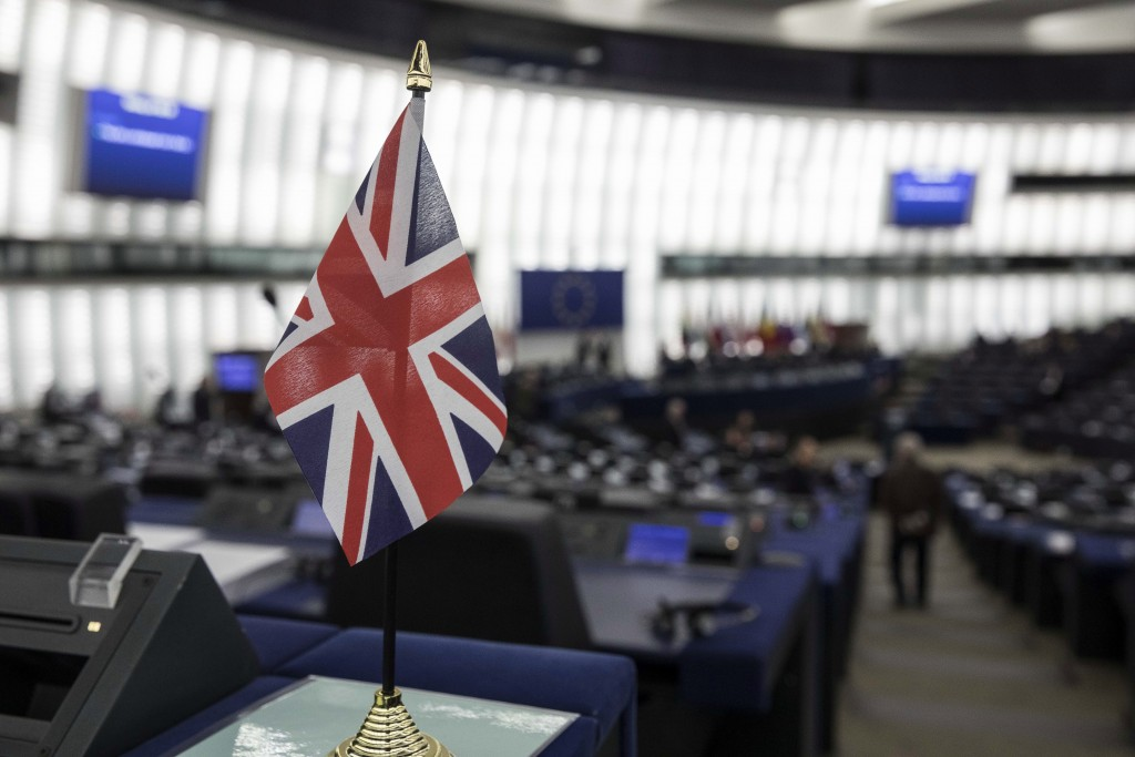A British flag is pictured at the European Parliament during a debate on Brexit, Wednesday, Jan.16, 2019 in Strasbourg. European Union Brexit negotiat