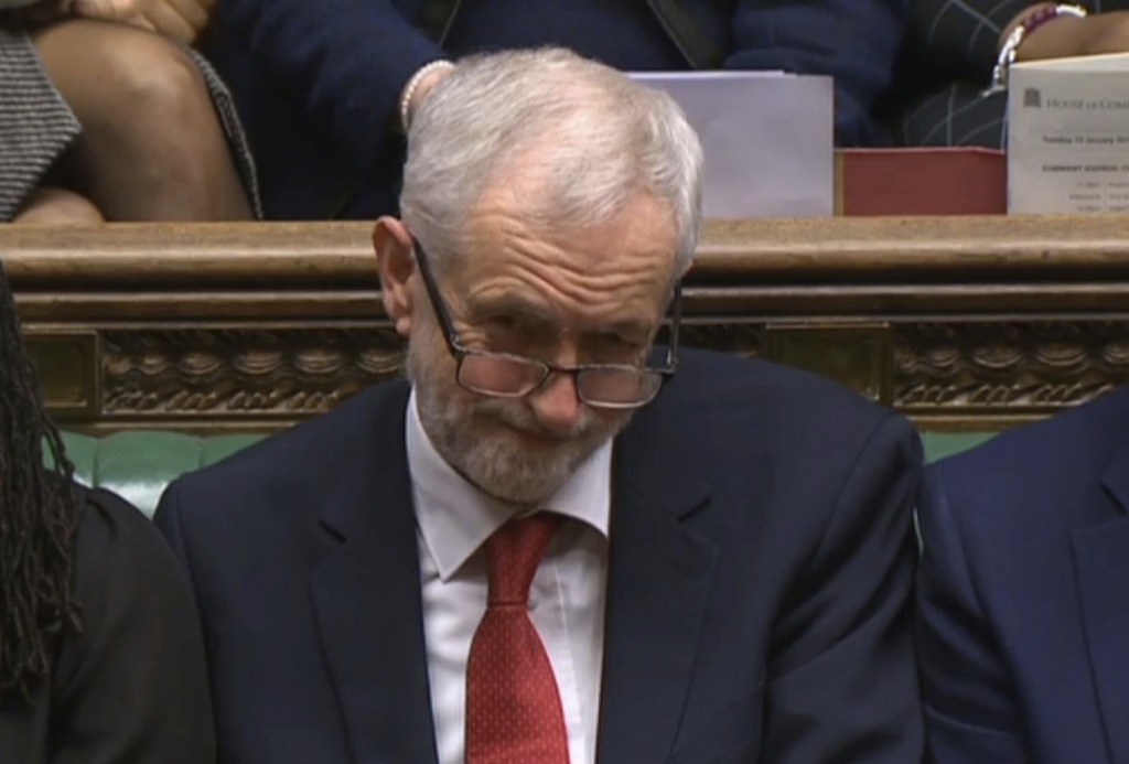In this grab taken from video, Labour leader Jeremy Corbyn listens to the conclusion of the debate ahead of a vote on the Britan's Prime Minister, The