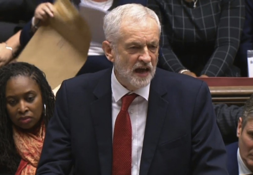 In this grab taken from video, Labour leader Jeremy Corbyn speaks after Britain's Prime Minister Theresa May lost a vote on her Brexit deal in the Hou