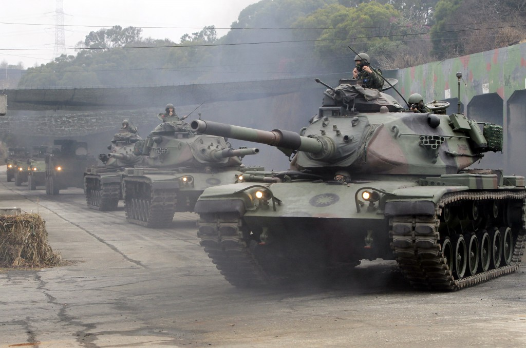 M60A3 Patton tanks move during a military exercises in Taichung, central Taiwan, Thursday, Jan. 17, 2019. Taiwan's military has conducted a live-fire