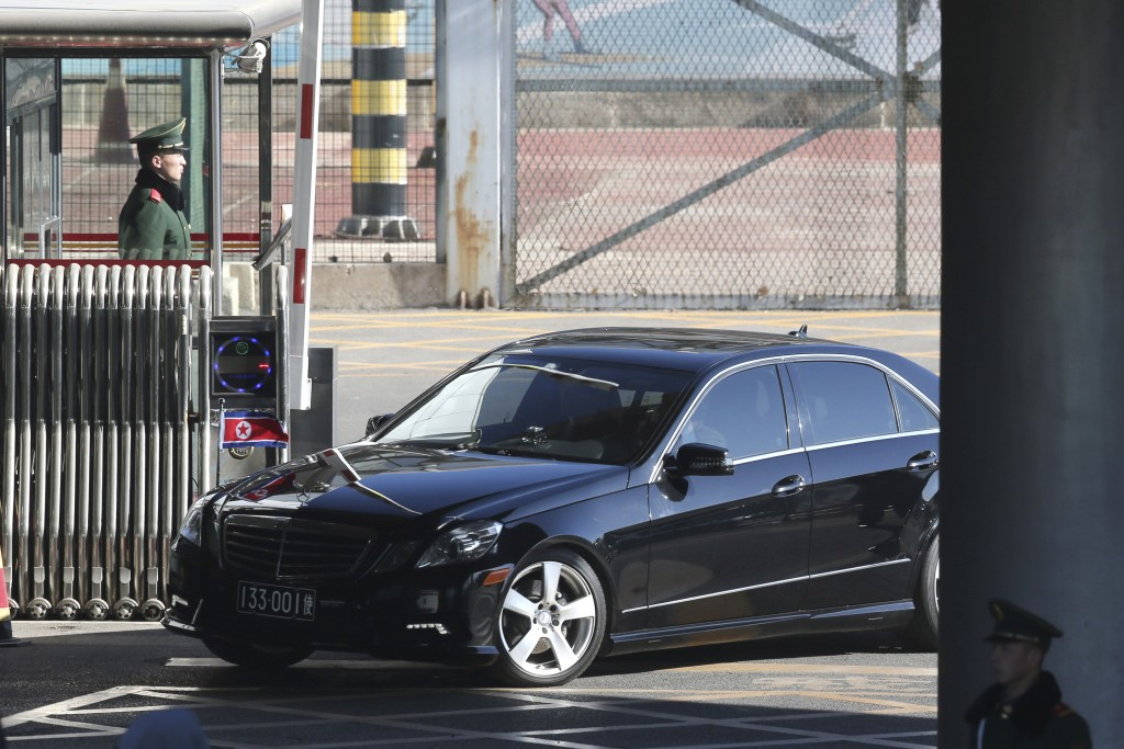 A car carrying North Korean Ambassador to China Ji Jae Ryong, leaves with a convoy from the VIP terminal of the Beijing International airport in Beiji