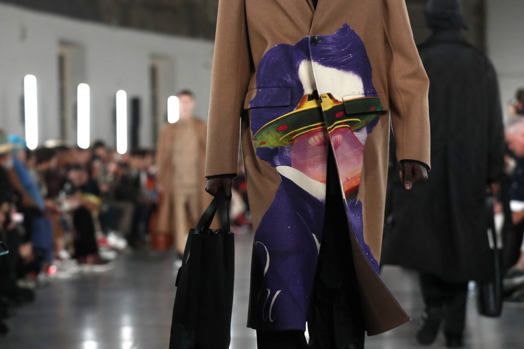 A model wears a creation for the Valentino men's Fall/Winter 2019/20 fashion collection presented in Paris, Wednesday Jan.16, 2019. (AP Photo/Thibault...